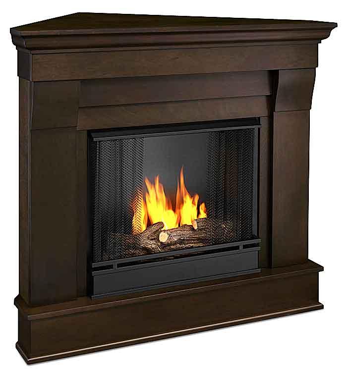 Chateau 5950 DW Corner Gel Fireplace In Dark Walnut Just