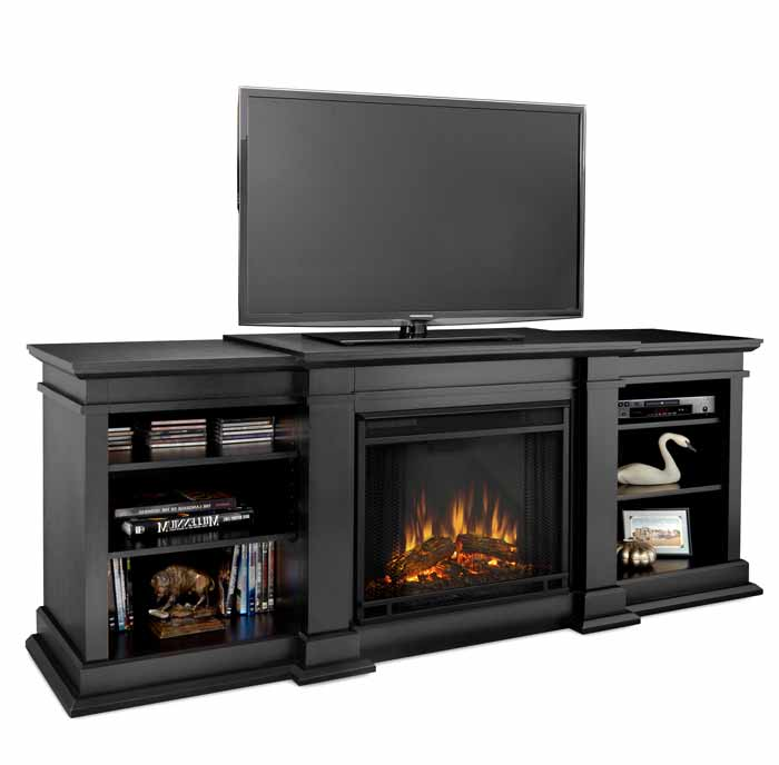 fresno g1200eb black media center electric fireplace