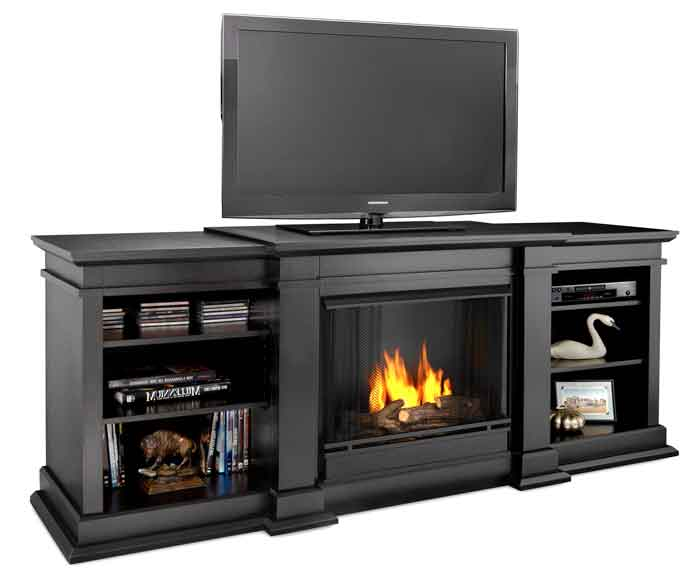 Fresno G1200 B Media Center Gel Fireplace in Black Just